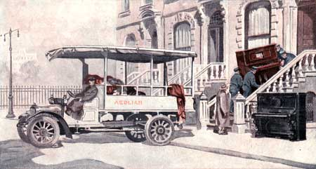 "New player piano being loaded into a house, while old ""silent piano"" sits forlorn on the curb.  (old advertisement)"