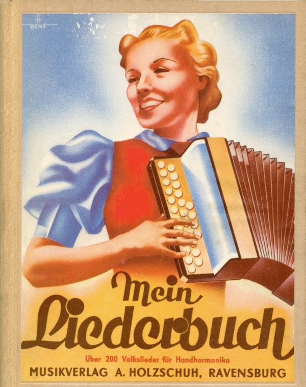 colourful old German ad.  Blond woman playing two row diatonic.