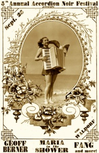 Accordion Noir Festival poster: woman with a seagull standing on her accordion.