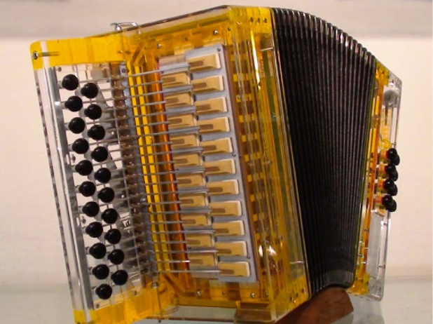 front view of instrument, golden transparent body, black bellows, black buttons