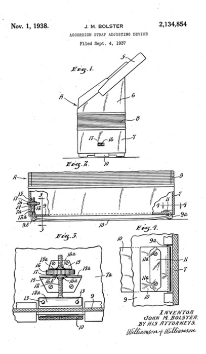 Patent art of an accordion bass strap and how it's screwed in.