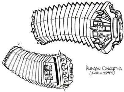 Design Sketch of a Klingon concertina. It has claws and fur.