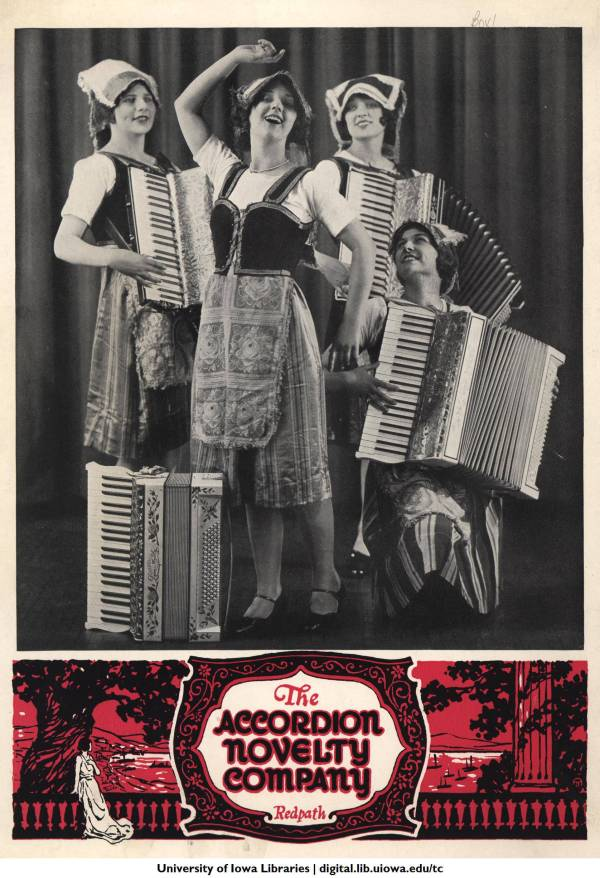 Four women with accordions in a vintage brochure