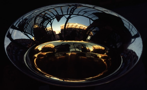 pretty abstract reflection off tuba bell