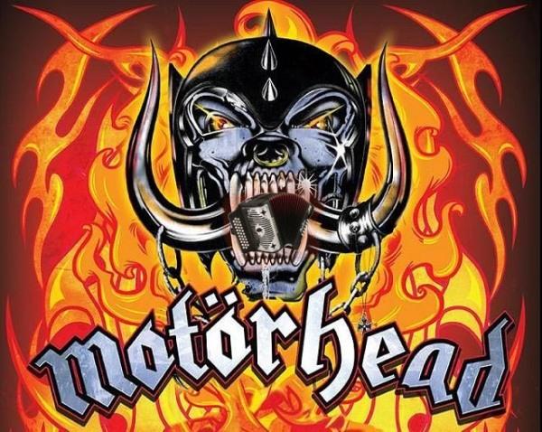 Shoddy photoshop of  Motörhead Snaggletooth Warpig eating an accordion