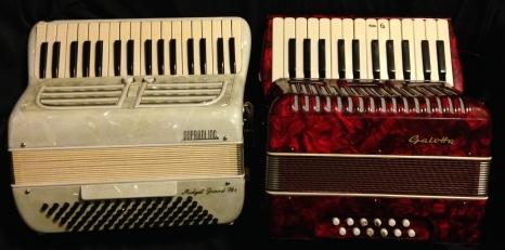 The Soprani Midget Grand compared with a child's accordion