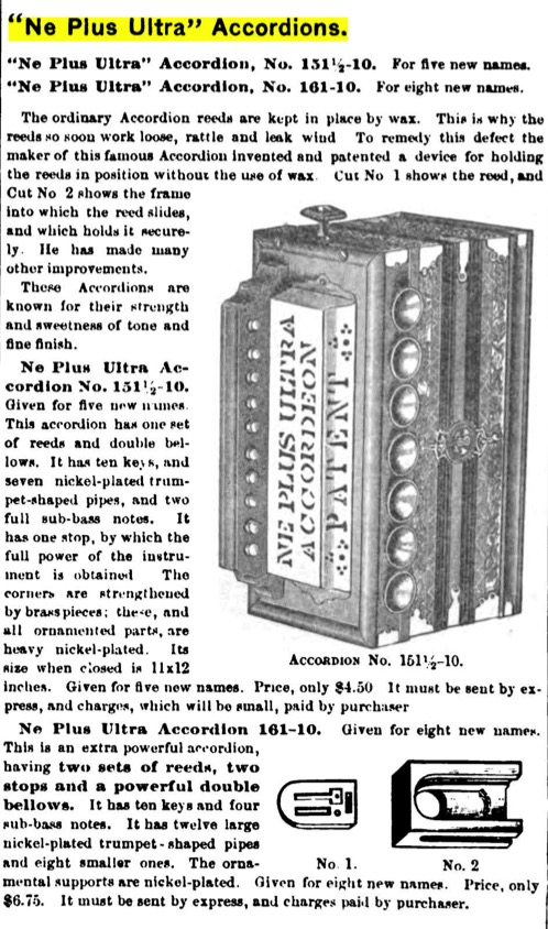 Ne Plus Ultra, Spaethe Accordeon ad, The Youth's Companion, Boston, 1883, pg 434
