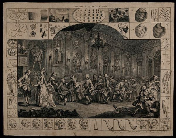 A country dance in a long hall. Engraving by William Hogarth.