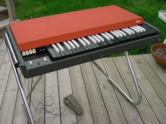 Vox Continental portable organ, with distinctive red top and white/black reversed keys