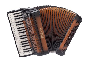 Beauty accordion with a shiny celluloid/plastic shell that fades from black to brown in a sunburst.