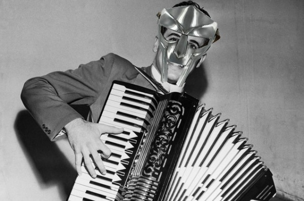 Accordion Hero Dick Contino, wearing a metallic mask like the DJ MF Doom. I think there might have been some photoshop involved.