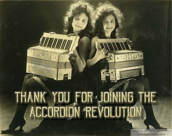 """""""Thank You For Joining the Accordion Revolution"""" text below photo of sisters with accordions"""