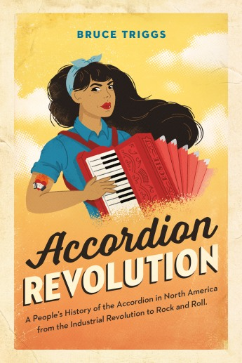 Accordion Revolution book cover: light brown skinned woman with long brown hair and a red accordion, modeled after the