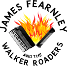 accordion with flames spilling out where the bellows would be