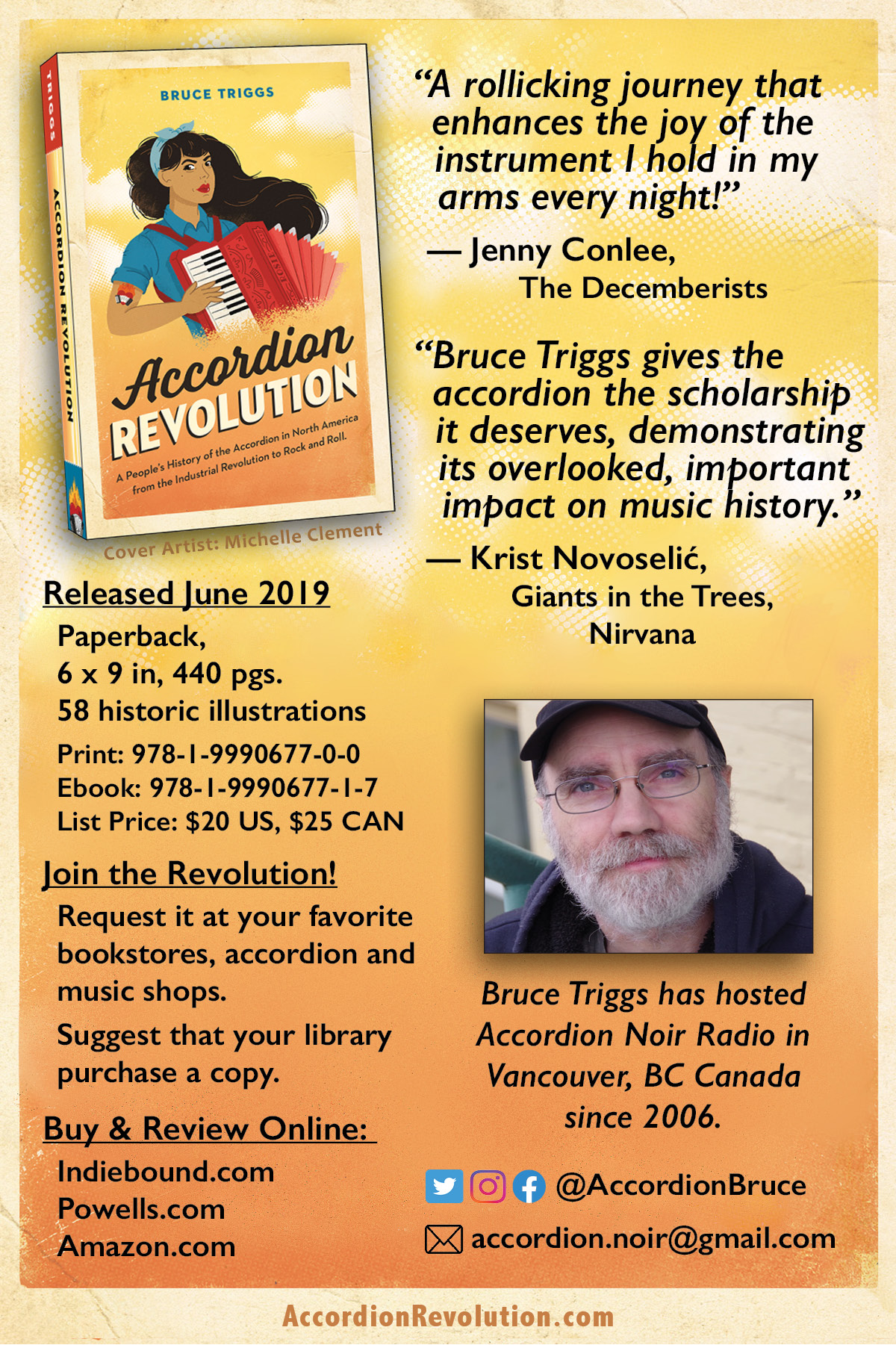 "Flyer for Accordion Revolution, with ordering info (as included in this post). And a photo of Bruce, white guy with a greying beard and glasses, looking kindly at the camera with a ""be kind to this nice author and read his book"" look in his eyes."