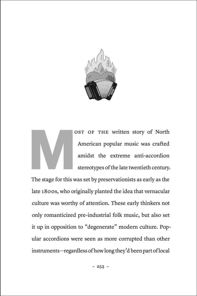 "Page from pg 253 of Accordion Revolution, Flaming Heart behind a button accordion"" image is set above text. Text begins, ""Most of the written story of North American popular music was crafted amidst the extreme anti-accordion stereotypes of the late twentieth-century."""