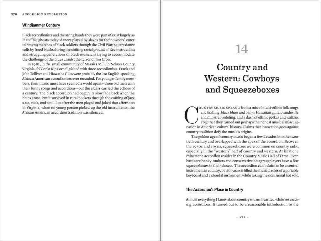 "Two-page spread from Accordion Revolution. Left side, pg 270, last section of Chapter 13 on the Black accordion tradition, two paragraphs subtitled ""Windjammer Century."" Right Page 271: Large centered chapter-opening title text: ""14 Country and Western: Cowboys and Squeezeboxes"" Then starting with a large drop-cap ""C"" standard text reading, ""Country music sprang from a mix of multi-ethnic folk songs and fiddling, black blues and banjo, Hawaiian guitar, vaudeville and minstrel yodeling, and a dash of ethnic polkas and waltzes."""