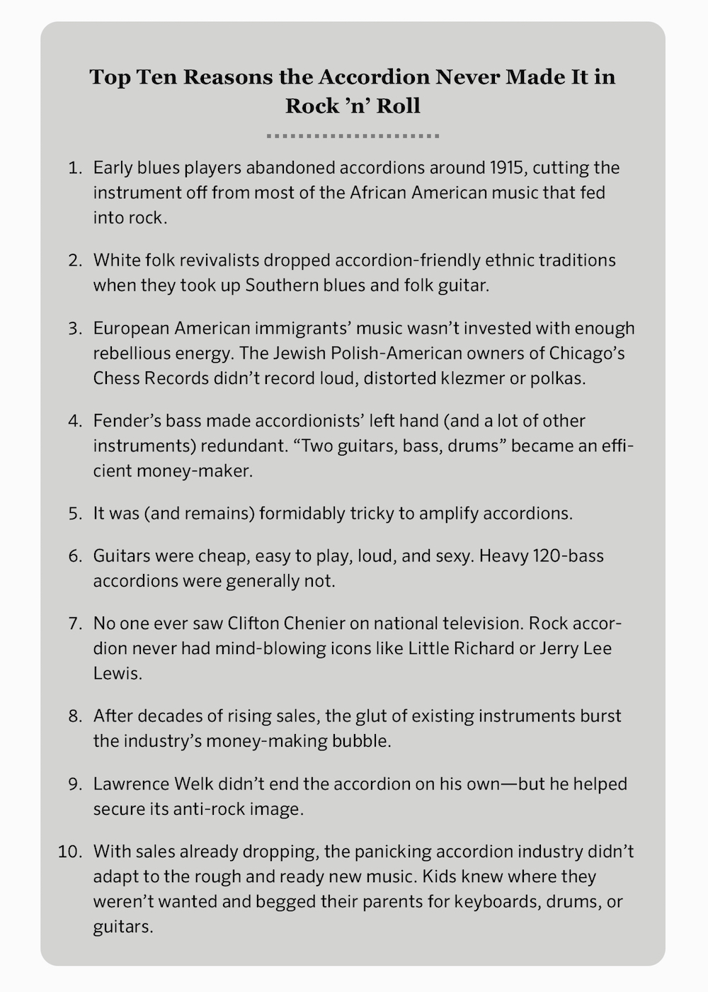 "eBook screenshot: ""Top Ten Reasons the Accordion Never Made It in Rock 'n' Roll (followed by list beginning with: ""Early blues players abandoned accordions around 1915, cutting the instrument off from most of the African American music that fed into rock."""