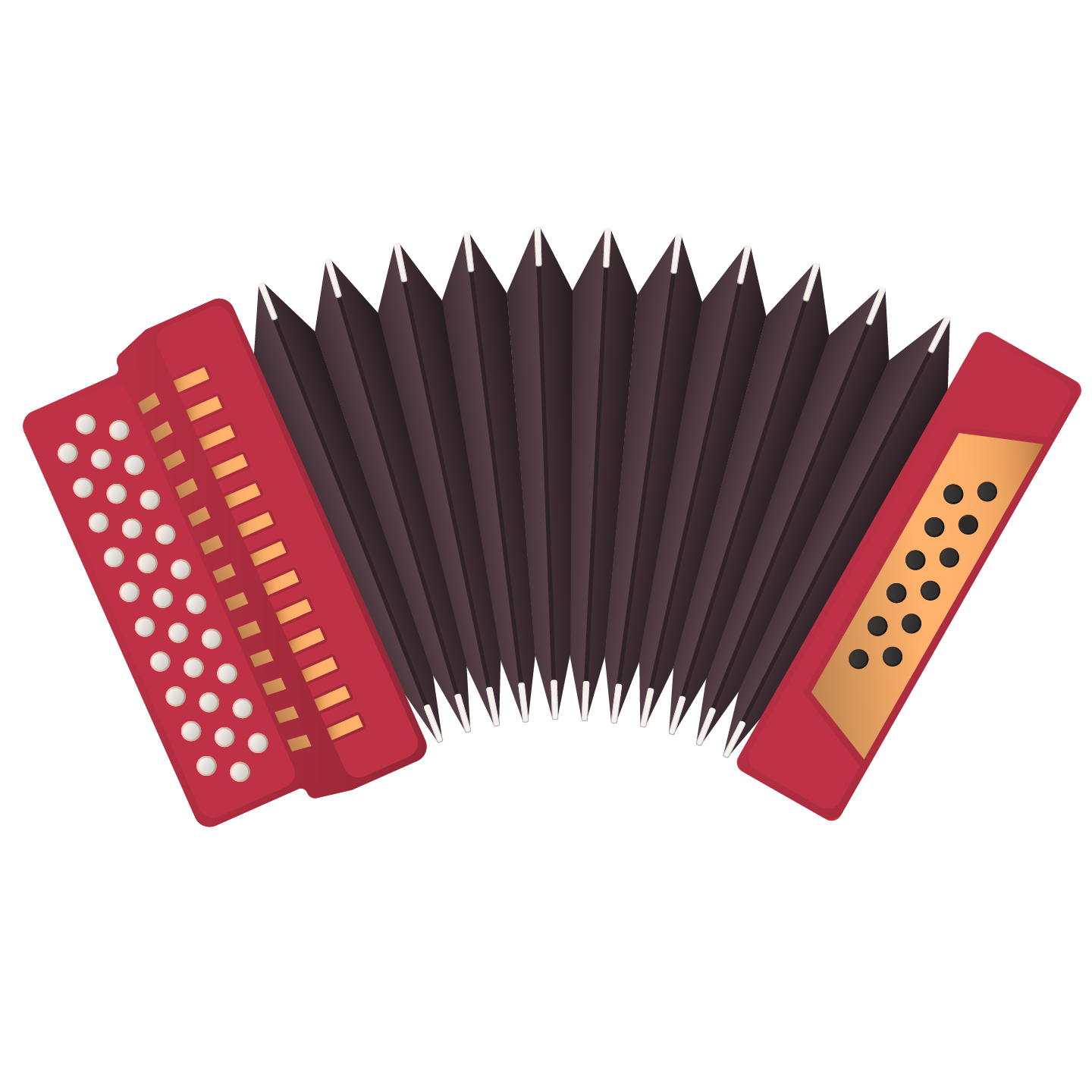 Draft emoji graphic for the Accordion Emoji: Red three-row button accordion with dark brown bellows splayed in an arc