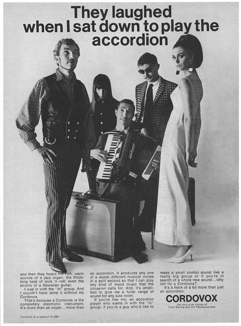 "Vintage Advertisement photo from book: of clean-cut looking dude playing Cordovox Electronic Organ Accordion, surrounded by 1960's hipsters with trendy clothes. Text: ""They laughed when I sat down to play the accordion."""