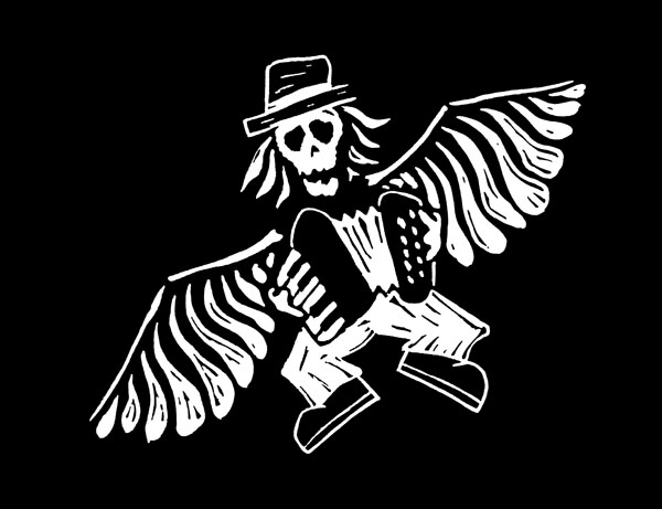 Jason Webley graphic (from a t-shirt) of a cartoon Jason with a skeleton head and wings, playing accordion while flying