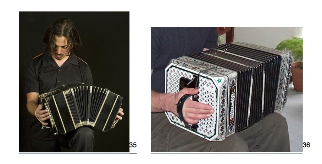 two photos, one a man with longish hair, playing a black bandoneon, and a white, decorated Chemnitzer concertina