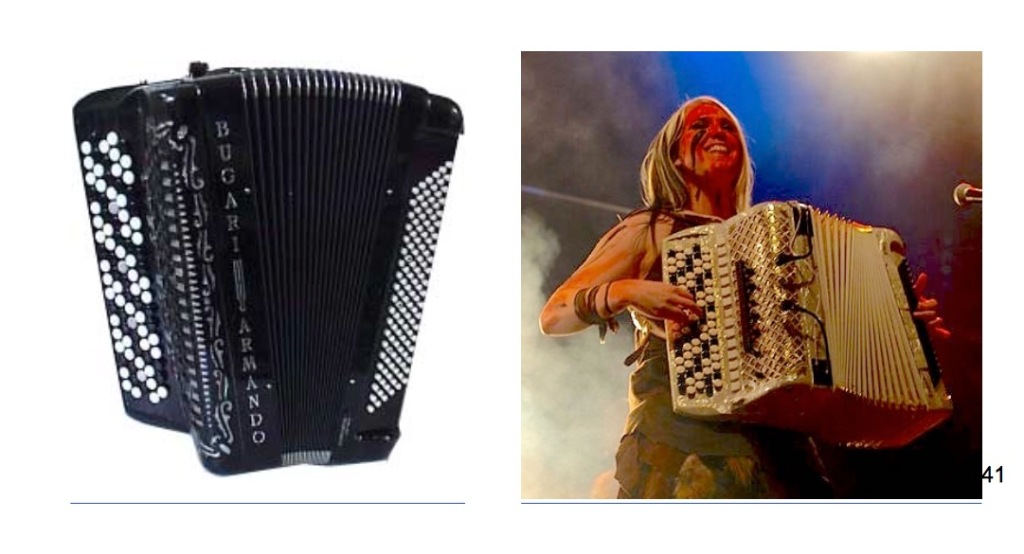Two photos, a large black concert chromatic button accordion, and Finnish metal accordionist Netta Skog with her face painted, playing a white five-row Finnish chromatic