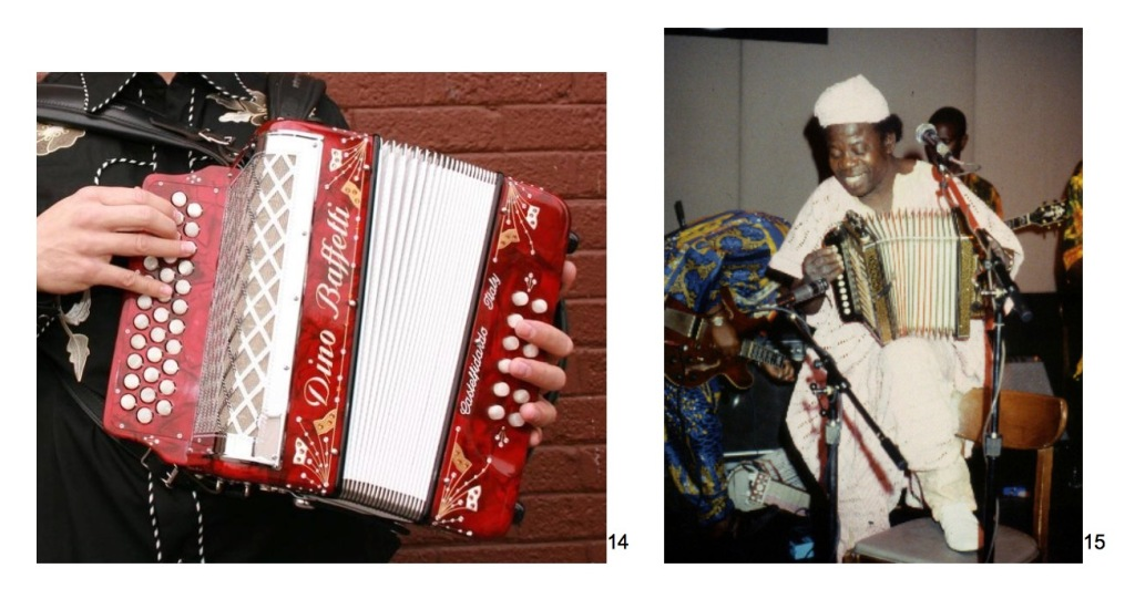 two photos of diatonic button accordions. A three-row Dino Baffetti, and Nigerian jùjú accordionist I.K. Dairo – black man playing a one-row button-box