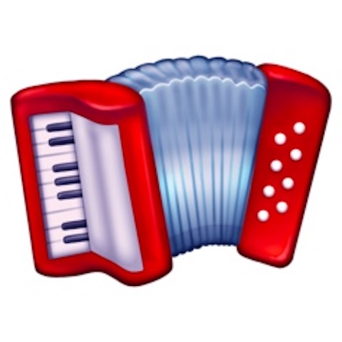Red cartoony Accordion Emoji as seen on Emojipedia.org