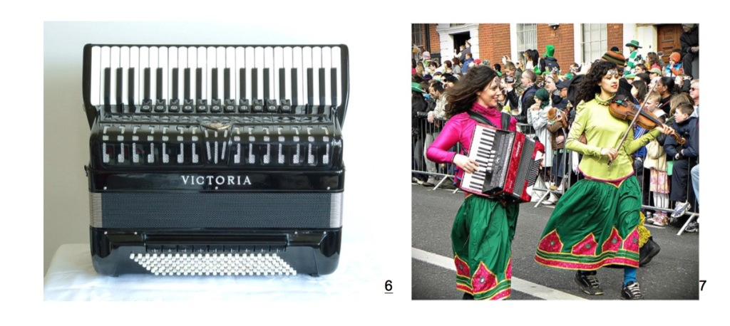 Two photos of piano accordions. A nice black Victoria model, and a photo of a woman in Ia parade playing accordion, next to another woman playing fiddle