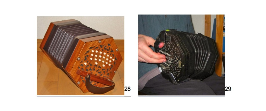 Two photos of smaller concertinas, a hexagonal Anglo-German model, and an octagonal English concertina