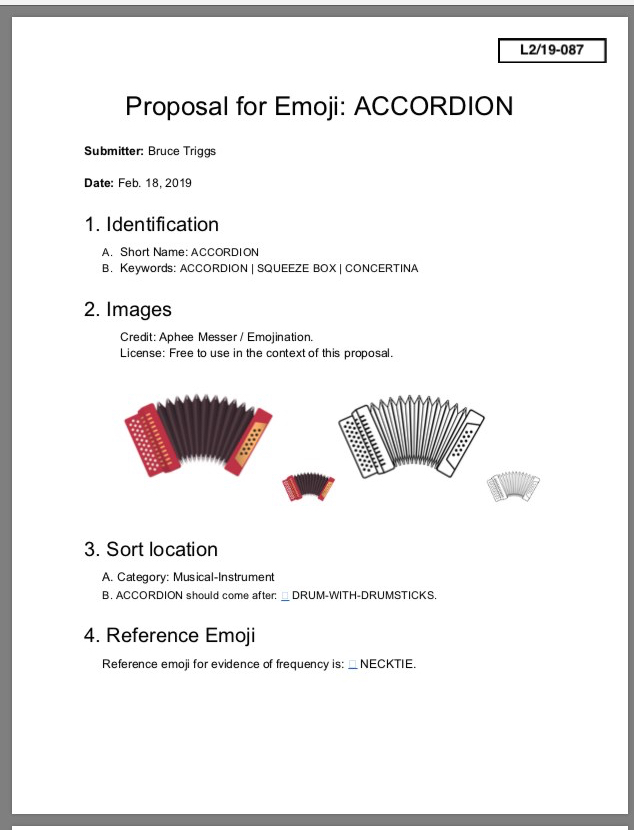 "Front page: ""Proposal for Emoji: Accordion"" with draft images, color and black and white"