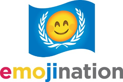 """EmojiNation"" logo, with a flag that looks like the United Nations' with olive-laurel leaves around a smiley emoji"