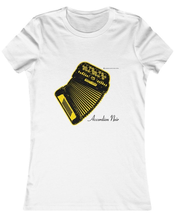 Accordion Noir Yellow Accordion T-shirt, link to Co-op Radio sales page