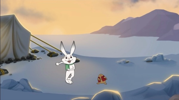 Rabbit and woodchuck dancing. Background of golden sky (sun below horizon) and mountains and tundra