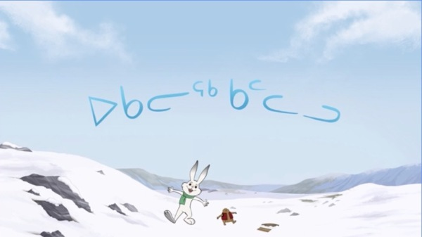 Title screen shot from the Ukaliq & Kalla cartoon. Background of daytime tundra, with the title in Inuktitut script.