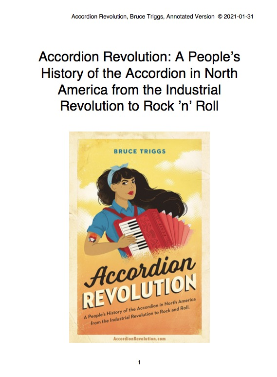 """Screenshot of the Cover Page: Annotated Version, 2021-01-03, """"Accordion Revolution: A People's History of the Accordion from the Industrial Revolution to Rock and Roll by Bruce Triggs"""" Image of the print book cover: a woman with a red accordion and long brown hair flowing in the wind. Modeled after the World War II Rosie the Riveter propaganda poster. Website url: AccordionRevolution.com"""